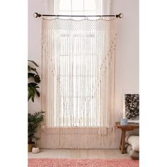 Grace Macramé Window Portal ($129) ❤ liked on Polyvore featuring home, home decor, window treatments, curtains, window curtains, window net curtains, net curtains and urban outfitters
