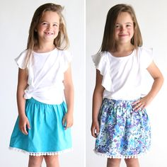 Learn how to sew a reversible pom pom skirt for a little girl. Easy sewing tutorial. Two skirts in one! Pom pom trim gathered skirt pattern.