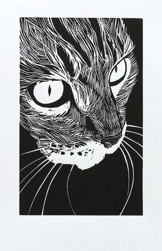 Cats in Art and Illustration: woodcut 'tabby' Peter Polaine Woodcut Art, Linocut Prints, Art Prints, Block Prints, Linoprint, Wood Engraving, Art Plastique, Woodblock Print, Graphic