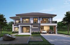 บ้านทั้งหมดครอบครัวขนาดกลาง - บริษัทรับสร้างบ้าน ซีคอน สร้างได้อย่างที่ฝัน สร้างบ้านกับซีคอน Four Bedroom House Plans, 4 Bedroom House Designs, Modern Exterior House Designs, Duplex House Design, Family House Plans, Modern House Design, Luxury House Plans, Luxury Homes Dream Houses, Dream House Plans