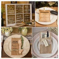 mariage rustique champêtre menu sur fenêtre menu sur sac en papier personnalisé pochette en toile de jute