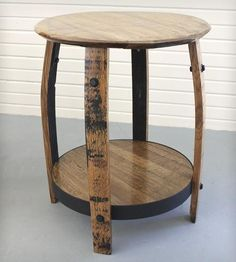 Reclaimed Bourbon Barrel End Table.