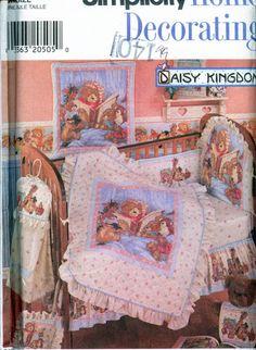 "Simplicity 7674 ©1997 Vintage DAISY KINGDOM NURSERY ACCESSORIESDaisy Kingdom Nursery Accessories Pattern - Quilt (40"" X 49""), Wallhanging, Pillow Cover, Dust Ruggle, Headboard, One-Piece Bumper, Diaper Stacker, Bib & SheetIN ORIGINAL FACTORY FOLD"