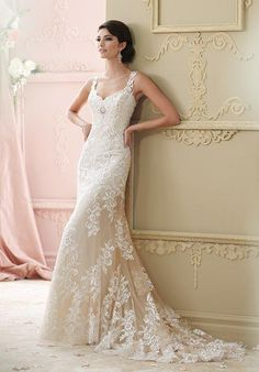 Sleeveless hand-beaded embroidered lace and tulle over luxurious satin slim A-line cage dress, plunging sweetheart neckline with illusion and lace modesty piece | David Tutera for Mon Cheri | https://www.theknot.com/fashion/215278-florine-david-tutera-for-mon-cheri-wedding-dress | https://moncheribridals.com/collections/wedding-dresses/david-tutera-for-mon-cheri/?utm_source=theknot.com&utm_medium=referral&utm_campaign=theknot&utm_content=gallery
