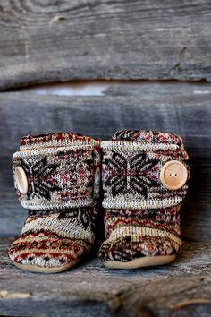 58e2a771f7de6e Nordic Leather Soled Fleece Baby Booties. by handmadetherapykids Benjamim