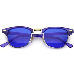 0a7be9560ac True Vintage Horn Rimmed Semi Rimless Sunglasses Color Tinted Square Lens  49mm (Blue   Blue)