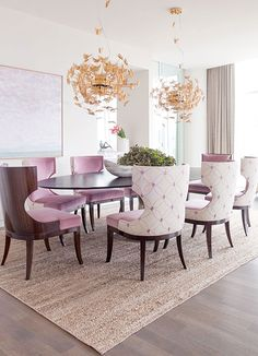 Dining room furniture ideas that are going to be one of the best dining room design sets of the year! Get inspired by these dining room lighting and furniture ideas! Luxury Dining Room, Dining Room Lighting, Dining Room Design, Dining Room Furniture, Room Chairs, Dining Chairs, Dining Rooms, Pink Chairs, Design Room