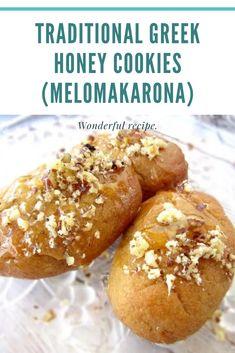 Greek Sweets, Greek Desserts, Greek Recipes, Greek Cookies, Honey Cookies, Melomakarona Recipe, Cookie Recipes, Dessert Recipes, Walnut Recipes