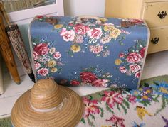 Lovely old suitcase recovered in a heavyweight vintage fabric