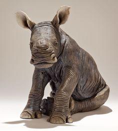 Nick Mackman Animal Sculpture - White Rhino Calf in Raku-fired Ceramic