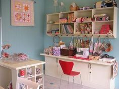 another appealing red & turquoise sewing room--so happy!  #sewing  #crafting