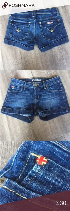 """Hudson jean shorts LIKE NEW Perfect condition dark rinse slightly distressed waist 13.5"""" across rise 7"""" inseam 2"""" sooo cute no modeling no trading please no low balls PRICE FIRM Hudson Jeans Shorts Jean Shorts"""