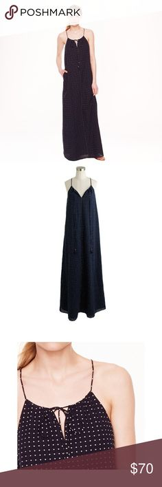 J. Crew Grid Dot Maxi Dress Lightweight and loose with a chic high-neck silhouette, this throw-on-and-go maxi lets us hit the snooze button one more time in the morning. (OK, maybe twice.)  Cotton with a hint of stretch. On-seam pockets. Lined. Machine wash. Import. Online only. Item A7831.  Perfect condition! Runs slightly large, fully lined. Perfect for casual weekends! I'll take reasonable offers! J. Crew Dresses Maxi