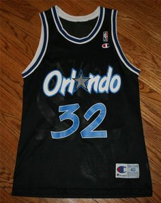 Vintage Shaquille O Neal  32 Orlando Magic black Champion NBA Jersey-Mens 40 7e08d6a5d
