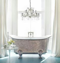 Bathroom with foot tub old hollywood glam