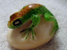 Wounaan Embera Poison Dart Frog Tagua Carving Art-Panama 15103010L