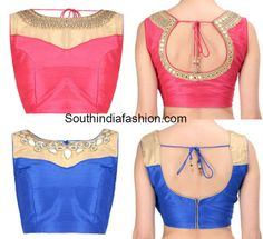 Mirror Work Boat Neck Blouse Designs that are worth trying out for all their beauty! Blouse Designs Catalogue, Best Blouse Designs, Blouse Neck Designs, Blouse Styles, Dress Designs, Blouse Pattern Free, Blouse Patterns, Mirror Work Blouse, Indie Mode
