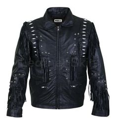New Handmade Men Black Fringes White Beads Leather Jacket with Round Studs with XS to sizes Spiked Leather Jacket, Studded Jacket, Leather Jacket Outfits, Biker Leather, Leather Shoes, Best Leather Jackets, Leather Skin, Black Leather, Stylish Jackets