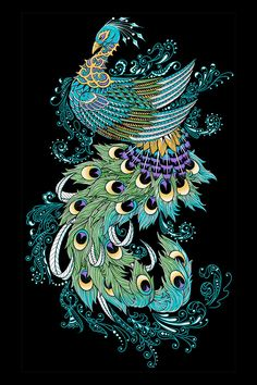 """Ornate Collection 2012-2013 on Behance -  """"Peacock"""" drawn for Wootzbrand.com, and inspired by paisley/henna artwork. Hand drawn with Copic Multiliner SP onto Crescent 110 cold press illustration board. Digitally colored in photoshop."""