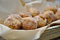 baked donut holes (I used applesauce instead of oil....and xylitol instead of sugar to roll them in)