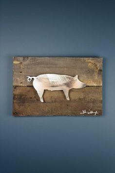 Pig Reclaimed Wood & Shaped Metal Art