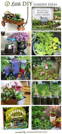 9 Little DIY Garden ideas including miniature gardens, gnome garden, patio water garden, tiny veggie garden, and a terrarium, curated by empressofdirt.net