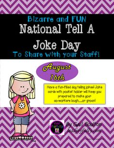 Have a fun-filled day telling jokes! Joke cards with pocket holder will keep you prepared to make your co-workers laugh...or groan!