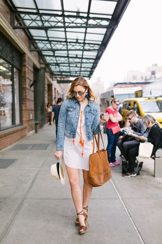 Spring Outfit Idea - Fashion Blogger Christine Cameron of 'My Style Pill' | Denim Jacket, $29.99 + Embroidered Tunic, $19.99 at H&M