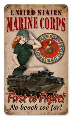 ☆ First to Fight Marines Pin-Up Poster ☆