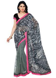 Shopeezo Chiffon Saree - Grey  #HomeShop18 #WomenSarees #DesignerSarees