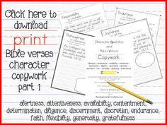 FREE Bible Handwriting and Copywork Worksheets