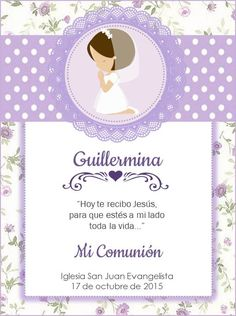 Primera comunión Martina Communion Centerpieces, Invitation Cards, Invitations, Printable Box, First Holy Communion, Silhouette Projects, Scrapbook Albums, Christening, Stationery