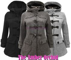 Hooded Wool Duffle Coat.  Winter Love!!!