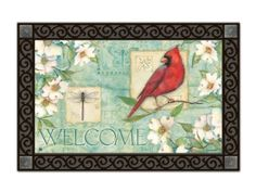 Dogwood Cardinal Indoor Outdoor Doormat by Magnet Works. $19.99. PLEASE NOTE YOU ARE PURCHASING THEDOORMAT ONLY. THE PICTURE SHOWS THEDOORMAT PLACED IN THE DESIGNER DOORMAT FRAME WHICH IS SOLD SEPARATELY IN OUR STORE.THEDOORMAT CAN BE USED WITHOUT DOORMAT FRAME. Thisdoormat will look beautiful outside your home when placed inside our Designer Doormat Frame, or to show off your mat inside your home use our Comfort Mat to enhance the look of any room. (These ac...