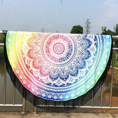 Mandala Lotus Lotus Printed Long Fringe Round Beach Towel