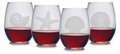 S/4 Seashore Stemless Wineglasses | The Looks Everyone's Scooping Up | One Kings Lane
