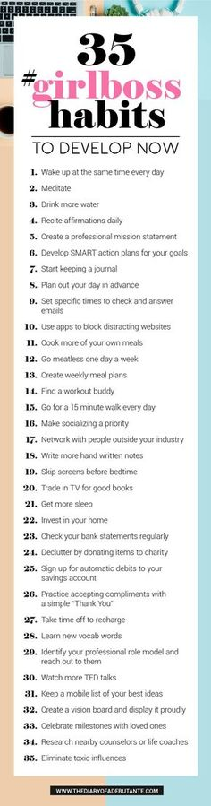 These 35 habits of insanely successful women will help you improve time manageme.These 35 habits of insanely successful women will help you improve time management, create productive morning routines, and give you the confidence boost you need Good Habits, Healthy Habits, Healthy Recipes, Vie Motivation, Self Care Activities, Confidence Boost, Life Hacks, Life Tips, Self Development
