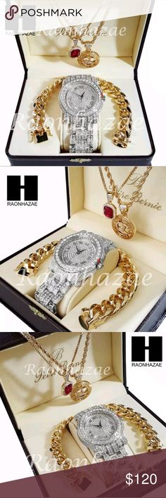 """MEN'S ICED OUT WATCH SET Iced Out Simulated Diamond Pave Watch Ruby QC Chain Cuban Bracelet Set  ** Silver Watch  Brand New TECHNO PAVEWatch  Watch FACE Diameter 1.75""""  8.5"""" Metal Band  Polished Stainless Steel Case  Japan Movt Quartz  Water Resistant   ** Bracelet  10mm 9"""" miami Cuban Chain Link Bracelet   ** Red Ruby w/ 2mm 24"""" Box Chain Necklace   **QC pendant w/ 3mm 24"""" Rope Chain Necklace Accessories Watches"""