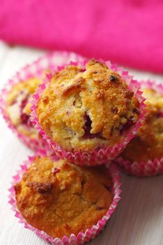 Healthy Raspberry and Coconut muffins - quick, easy and low in sugar.