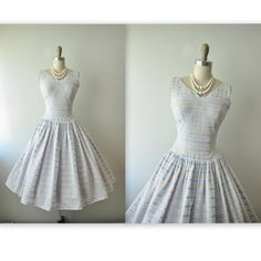 50's Summer Dress // Vintage 1950's Embroidered White Blue Cotton Garden Party Dress S