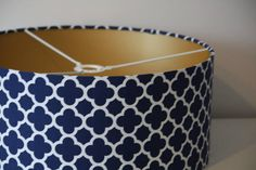Drum Lamp shade covered in Navy Riley Blake Quatrefoil with brushed gold lining Navy Lamp Shade, Gold Line, Riley Blake, Quatrefoil, Contemporary, Modern, Drum, New Homes, Shades
