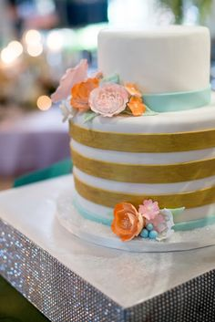 photo shoot: meant2be events & star fire golf club. Piece of Cake. Mint, Coral, Gold and Orange Wedding Cake. Glitter cake stand.
