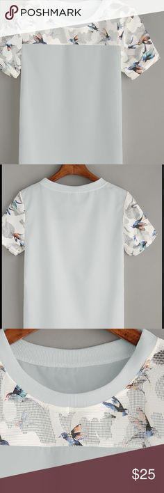 🆕Baby blue mesh butterfly/bird print top Other colors available in my closet.....Measurements XXL: Shoulder 39cmBust 108cmLength 64cmSleeve Length 22cm item#RWKHY3077705 Tops