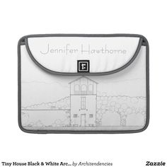 MacBook Pro Sleeve - Tiny House Architectural Black & White Ink Drawing. Personalize it with initials, a name, or customized text. This image is a print of an original ink drawing of a small rustic cottage with charming architectural details and small stone benches. Great gift for an architect, teacher, contractor, construction manager, builder, real estate agent, interior designer, or someone into architecture, home design or tiny houses & cottages. #housedrawinggifts