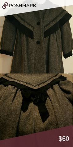 Rothschild Vintage girls Wool Coat Black & Grey Wool Coat with Velvet bow  Gorgeous coat   Perfect for a little princess  This coat is in PERFECT CONDITION Rothschild Jackets & Coats Pea Coats