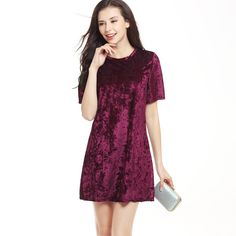 WomensDate 2017 Spring Summer New Fashion Women Velvet Loose Dress O Neck Short Sleeve Mini Dress Lady Night Club Party Dresses