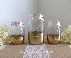 Gold and Glitter Mason Jars Baby Shower by MyHeartByHand on Etsy