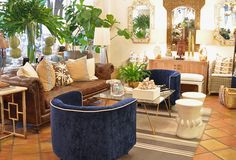 Navy seating vignette at Mecox Palm Beach