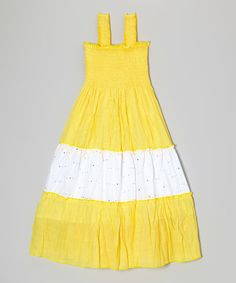 Take a look at this Yellow & White Tiered Maxi Dress - Girls today!