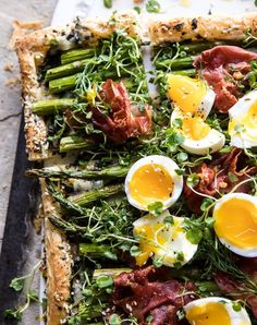 Asparagus, Egg and Prosciutto Tart  (Plus 19 More Impressive-Looking Puff Pastry Dinners That Are Secretly Really Easy) #puffpastry #recipe